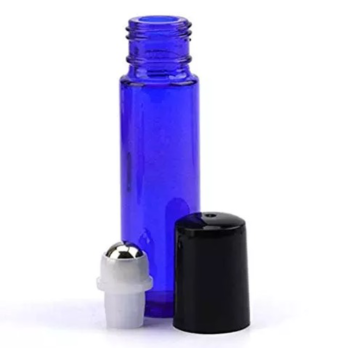 Glassflaske med roll-on. Blå.